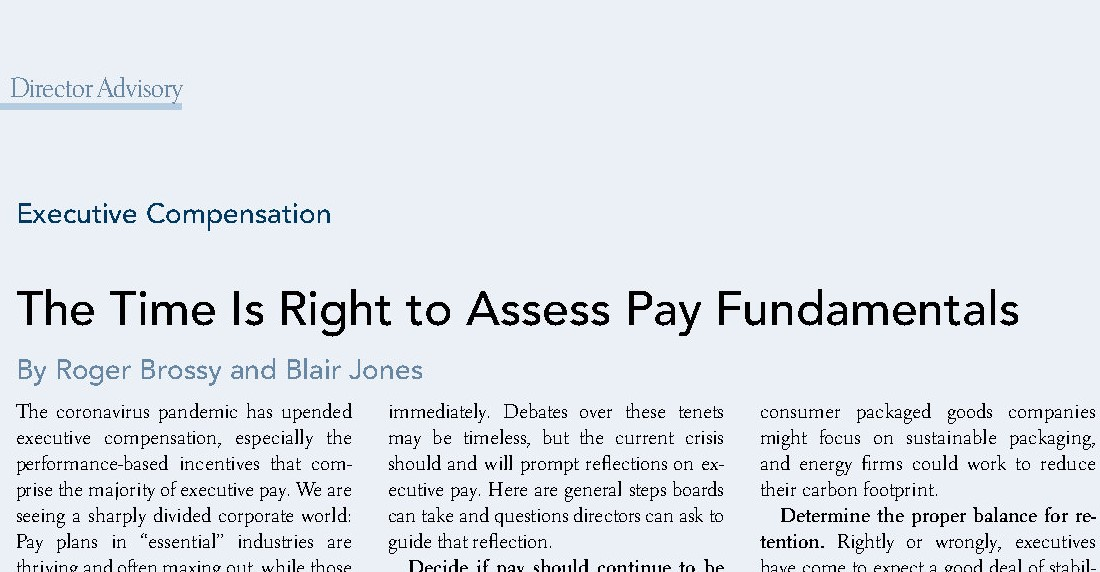 The Time Is Right to Assess Pay Fundamentals