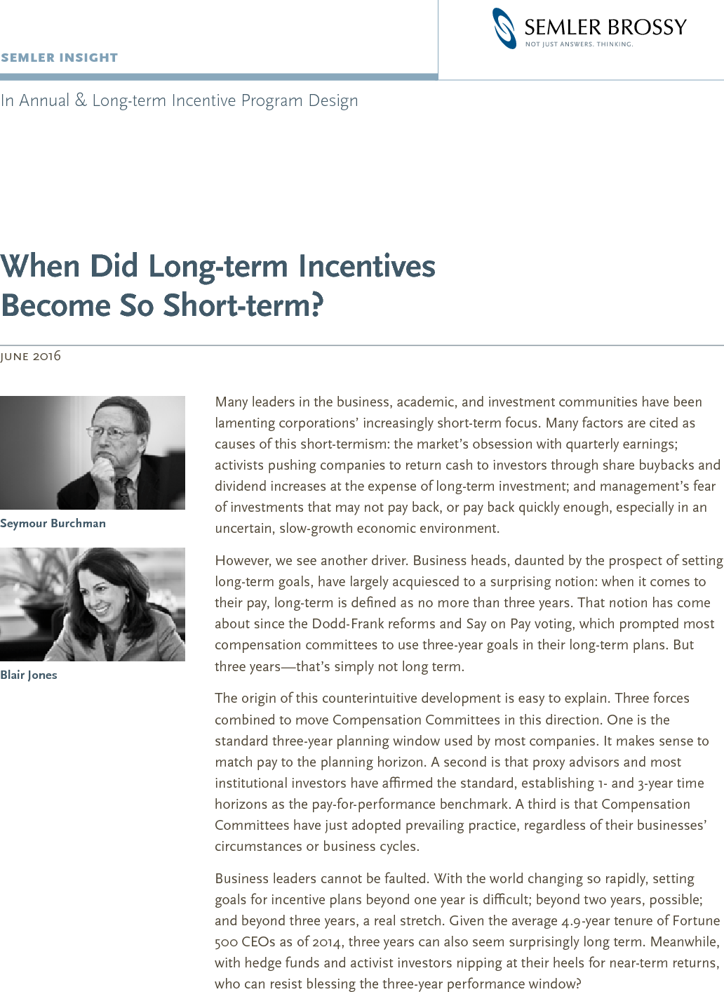 When Did Long-term Incentives Become So Short-term?